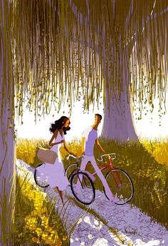 Cartoon art by Pascal Campion Cartoon Kunst, Cartoon Art, Pascal Campion, Bicycle Art, Love Illustration, Bunt, Amazing Art, Illustrators, Chibi