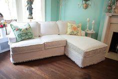 shabby chic sectional sofa vintage matelasse bedspread slipcover white custom made new cottage prairie