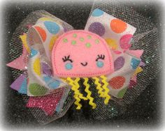 Jellyfish Felt Sparkle Boutique Hair Bow 3 by MyBellaBellaBowtique
