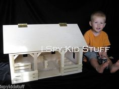 """Wooden Toy Stable A-Frame Barn 20"""" x 12"""" x 14""""; inside corral area is 11"""" x 6.25"""" plus has multiple stall areas. Roof is hinged and opens up all the way back - has haymow, corral, feed trough and stalls detailed inside.  $136.40"""
