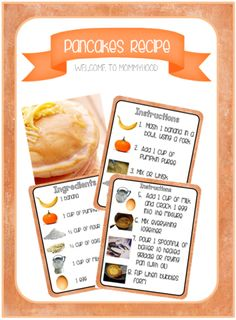Healthy Recipes: Pumpkin Pancakes kids can make independently with free recipe printable #montessori #healthyrecipes #healthybreakfastrecipes #kidsrecipes #kidscooking #cookingmethod #cooking #method #worksheet