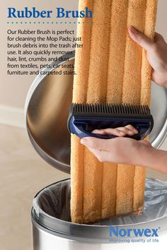 Norwex Rubber Brush Use for Removing: * Pet hair * Lint * Human hair * Dust * Dried-on dirt From: Carpet, Furniture, Car seats and Beds Plus amazing with the mop system Norwex Mop, Norwex Cleaning, Safe Cleaning Products, Green Cleaning, Cleaning Hacks, Norwex Products, Norwex Cloths, Cleaning Solutions, Spring Cleaning