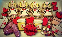 Cookies for Nurses Nurse Cookies, Cupcake Cookies, Sugar Cookies, Cupcakes, Nurses Week Gifts, Nurse Gifts, Wilton Baking, Cookie Designs, Cookie Ideas