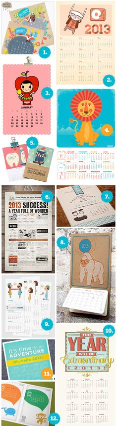 Cool, Creative, Artistic, Illustrated, Poster, Wall Calendars 2013