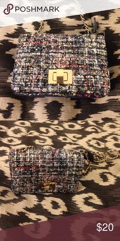 Tweed Mini Bag NWT tweed mini bag, blue/ multi color/ sequin bag, with front closer and chain strap, never worn, very, very cute!!( A similar bag is listed Now on Zara's website ) Bags Mini Bags