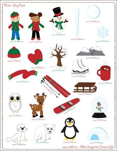 """Use winter story prompts, divide paper into 3-4 sections, let kids """"tell"""" their…"""