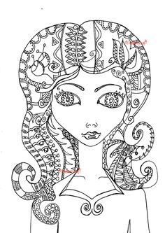 beautiful woman coloring page female coloring page adult coloring page adult coloring intricate coloring page zentangle inpsired color
