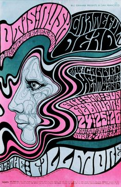 Grateful Dead /Otis Rush Chicago Blues Band/Canned Heat, February 24-26 1967 - Fillmore Auditorium (San Francisco, CA) Art By Wes Wilson.
