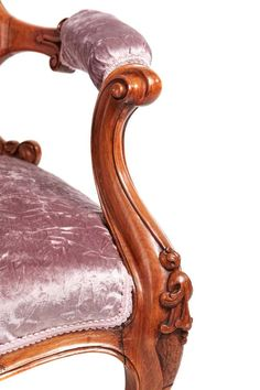A fine quality Victorian carved walnut armchair, with carved detail to the top, lovely carved shaped arms, carved front rail, standing on shaped carved cabriole front legs outswept back legs Newly re-upholstered Lovely color and condition. Royal Furniture, French Furniture, Upholstered Furniture, Antique Furniture, Bergere Chair, Armchair, Settee, Pvc Chair, Bed Crown