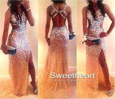 Custom Made Sweetheart Backless Tulle Long Prom Dresses, Evening Dresses