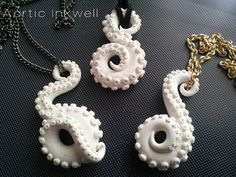 Polymer clay tentacle necklaces