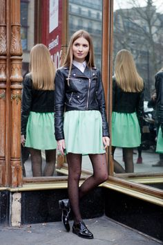 How to wear mint green now - with dotted tights and a biker...(unless it's Atlanta, in which case there is no spring)