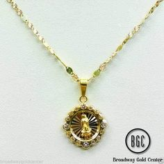 10k Yellow Gold Valentino Mirror with Virgin Mary Pendant