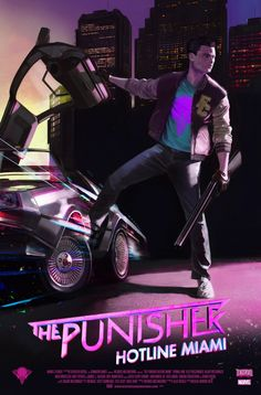 Punisher concept - style with Delorean and neon skull Best Art work ever punisher combine with Hotline Miami awesome Kung Fury, Neon Noir, Concept Art World, Miami Vice, Retro Waves, Marvel, Arte Horror, Cyberpunk Art, Retro Art