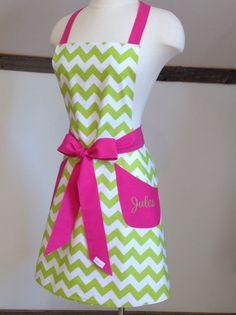 Personalized Lime  Green Chevron with Hot Pink Trim by LizzysBiz, $41.00