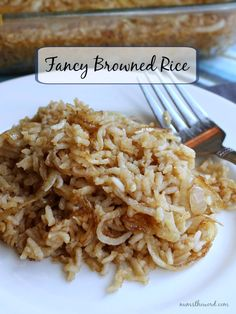 Fancy Browned Rice - long grain rice browned with onions and cooked with beef broth. Full of flavor and a super yummy side dish with just about anything!