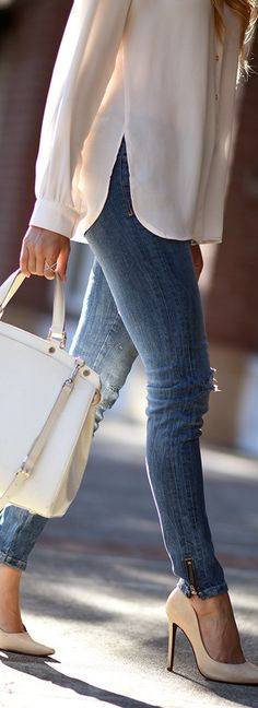 Zara Denim, Louis Vuitton Bag via Trendlee, Schutz Heels