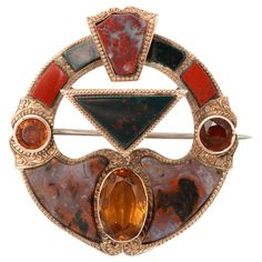 1860-1880 victorian, bordering art deco scottish moss agate and citrine brooch
