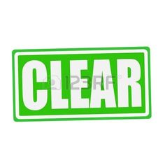 text: CLEAR white stamp text on green