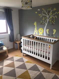 Yellow and Grey Jungle Wall Stickers, Gender Neutral Nursery Decals, swinging monkeys, giraffe, baby elephant a white tree mural decor Baby Bedroom, Baby Boy Rooms, Baby Room Decor, Nursery Room, Nursery Decor, Jungle Nursery, Room Baby, Bedroom Decor, Neutral Wall Stickers