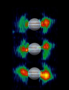 Inner Radiation Belts of Jupiter-Details in radiation belts close to Jupiter are mapped from measurements that NASA's Cassini spacecraft made of radio emission from high-energy electrons moving at nearly the speed of light within the belts.