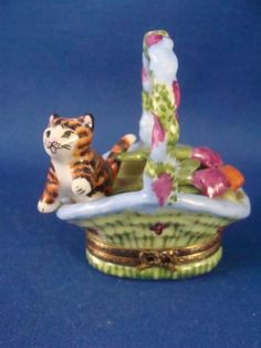 Black-Orange-Striped-Kitty-Cat-Flower-Bouquet-authentic-FRENCH-LIMOGES-box