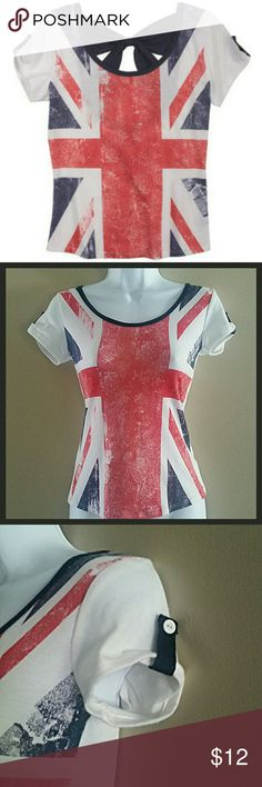 Union Jack Bow-Back Tee Union Jack bow-back tee. Scoop neck. Adorable bow back. Tabs on sleeves.?Tag removed due to itchiness. Approximately 21 inches from shoulder to bottom of hem. 95% polyester 5% spandex, contrast 67% polyester 28% rayon 5% spandex. Delia's Tops Tees - Short Sleeve