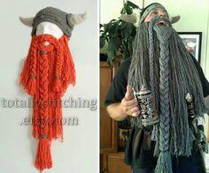 Crochet Viking Hat With Beard Free Pattern Video Tutorial Viking Hat Crochet Pattern, Beanie Pattern Free, Crochet Shoes Pattern, Mittens Pattern, Free Pattern, Crochet Patterns, Crochet Ideas, Crochet Men, Crochet Kids Hats