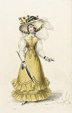 1820s Sea-Side Costume, English. Lemon walking dress with scalloped and frilled hem decoration, parasol, and a wide brimmed matching hat. Fashion Plate via Rudolph Ackermann's 'The Repository'. collectionsonline.lacma.org suzilove.com