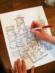 Ihana idea vieraskirjalle! Ehkä voisi kehystää tulevaisuuden kirjastohuoneen seinälle!?