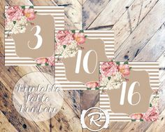 Printable Table Numbers, All the Pretty Peonies, DIY Wedding Printable, Engagement, Vintage Rustic Style, Floral Table Numbers