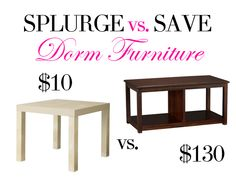 For the college girls on a budget: this Splurge vs. Save list gives great alternatives to expensive furniture!