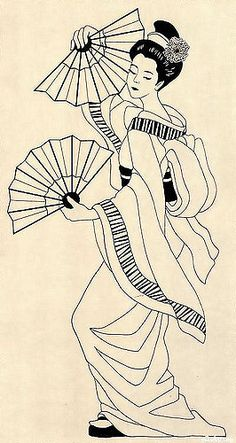 Graceful Geisha , panel ,love it Art Geisha, Geisha Kunst, Geisha Drawing, Fabric Painting, Painting & Drawing, Colouring Pages, Coloring Books, Asian Quilts, Art Japonais