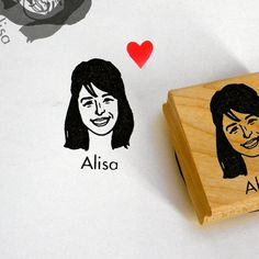 Custom stamp portrait / self ink / wood block mount / for mothers' day personalize cards face him her mail stationery birthday bridesmaids by lilimandrill on Etsy https://www.etsy.com/listing/218198169/custom-stamp-portrait-self-ink-wood