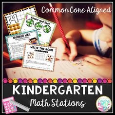 These Kindergarten Math Stations are Common Core Aligned. Included are 6 math centers to practice skills such as counting, writing numbers, representing numbers, number sequence, sorting, comparing numbers, written numerals, addition within 10, and addition number stories.The 6 centers are:1) Play Dough Mats for numbers 0-20: Students form the given number with play dough and fill the ten frames with play dough balls to represent the number.2) How Many are There? : A mat is given with many…