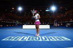 Li Na wins the women's Australian open tennis championship over Dominika Cibulkova 7-6 (3) 6-0. - Ben Solomon/Tennis Australia