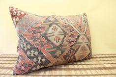Decorative Lumbar kilim pillow 16 x 24  Throw Pillow vintage Pillow accent Pillow Handwoven Turkish Kilim  yellow red green colour  F-7 on Etsy, $73.00