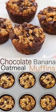 Healthy Banana Chocolate Chip Oatmeal Muffins A freezer friendly breakfast or snack option! The post Healthy Banana Chocolate Chip Oatmeal Muffins appeared first on Garden ideas - Health and fitness Banana Oatmeal Muffins, Banana Chocolate Chip Muffins, Chocolate Chip Oatmeal, Chocolate Chips, Banana Muffins Flourless, Chocolate Desserts, Banana Bread, Healthy Muffins, Healthy Breakfast Recipes