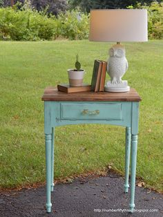 Number Fifty-Three: Planked Sewing Table with Custom General Finishes Aqua Paint