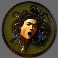 Scudo con testa di Medusa, Caravaggio, 1598, olio su tela, 60x55, Galleria degli Uffizi, Firenze