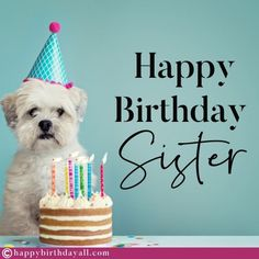Nicest birthday wishes, messages, quotes, poems and greetings for your sister. Wish her happy birthday and tell her how special she is. Grandaughter Birthday Wishes, Happy Birthday Dear Sister, Best Happy Birthday Message, Sweet Birthday Messages, Happy Birthday Dog, Happy Birthday Pictures, Birthday Wishes Quotes, Happy Birthday Sister, Happy Birthday Greetings