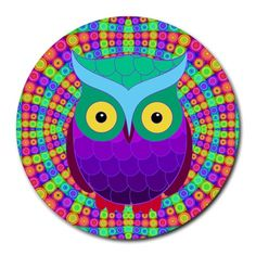 """Groovy Owl 8"""" Mouse Pad (Round) Round Mousepad"""