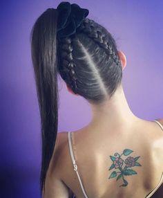 High Ponytail With Upside Down Braids # Braids styles high ponytails Braided Ponytail Ideas: 40 Cute Ponytails with Braids Braided Ponytail Hairstyles, Box Braids Hairstyles, Girl Hairstyles, Ponytail Ideas, Hairstyles Videos, School Hairstyles, Updo Hairstyle, Everyday Hairstyles, Cheer Hairstyles