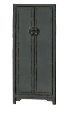 Chinese Distressed Rustic Gray Tall Narrow Storage Cabinet - Golden Lotus Antiques
