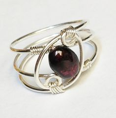 Garnet Ring  Garnet Jewelry  January Birthstone Sterling Rings for Women  Silver Ring  Rings  Sterling Silver on Etsy, $24.95