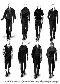 """The thumbnail sketches for Quinn's post encounter design from Personal Project """"Wage"""". Fantasy Character Design, Character Design Inspiration, Character Art, Character Sketches, Illustration Mode, Clothing Sketches, Armor Concept, Fashion Design Drawings, Drawing Clothes"""