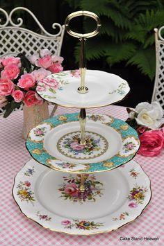 Beautiful Lady Ascot Tiered English Fine China Cake Stand to buy UK