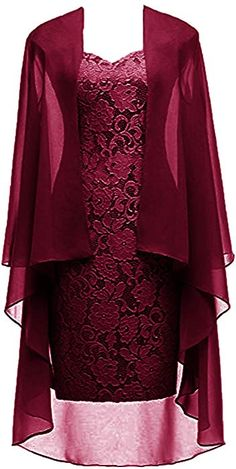 Burgundy Short Lace Mother of The Bride Dress with Jacket Formal Gowns Burgundy US 12 Mother Of Groom Dresses, Mothers Dresses, Beautiful Dresses, Nice Dresses, Plus Size Gowns, Dress Sewing Patterns, Formal Gowns, Dress Formal, African Fashion