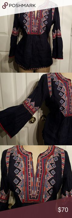 Johnny Was bell sleeve top Ramie blend looks like fine linen. Great embroidery 3J Workshop Johnny Was Tops Blouses