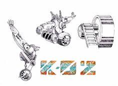 Ilutración en tinta de personaje mecánico K-02.Detalles y vistas